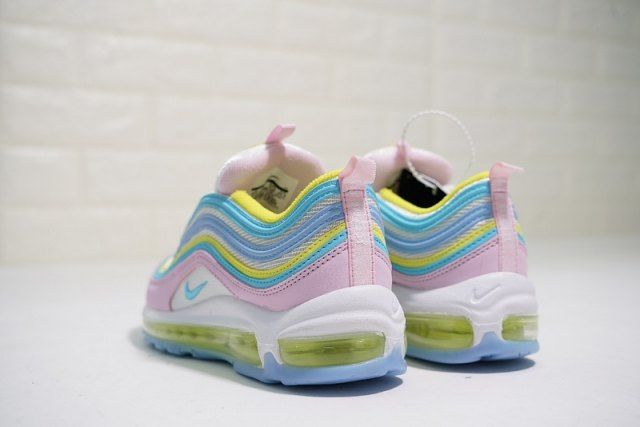 Nike Air Max 97 women's Running Shoes Yellow Blue Pink