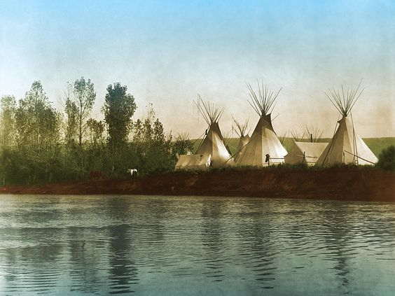 Crow Indian Camp On The Rivers Edge  Created from the c1908 photograph by Edward S. Curtis