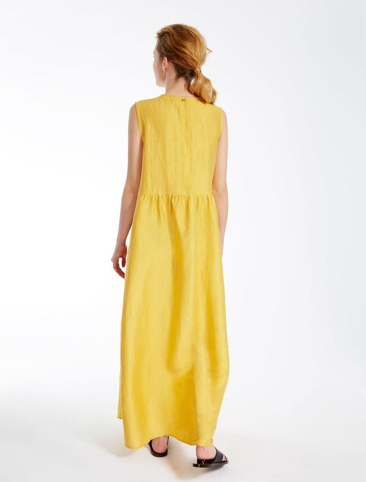 Linen and silk dress, yellow - Weekend Max Mara