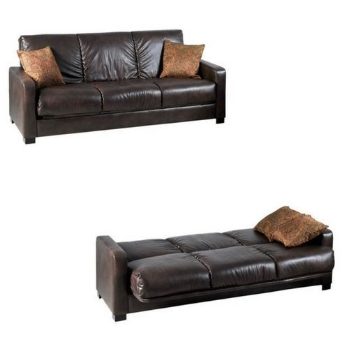 Transitional Brown Faux Leather Futon Sleeper Sofa Renu Leather Full Size Bed #ComfyFauxLeatherSofas #Contemporary
