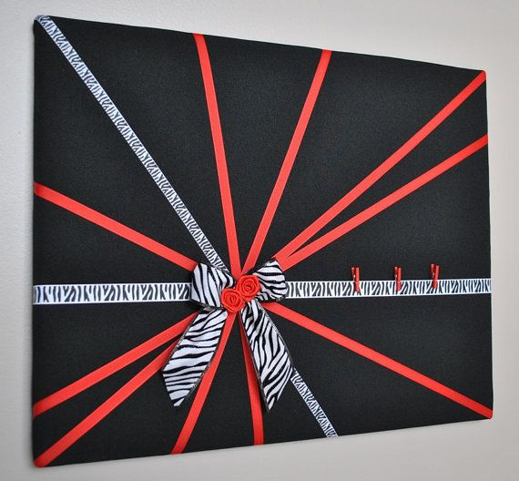 Black white & red French memo board / fabric by MemoBoardsNMore, $39.95