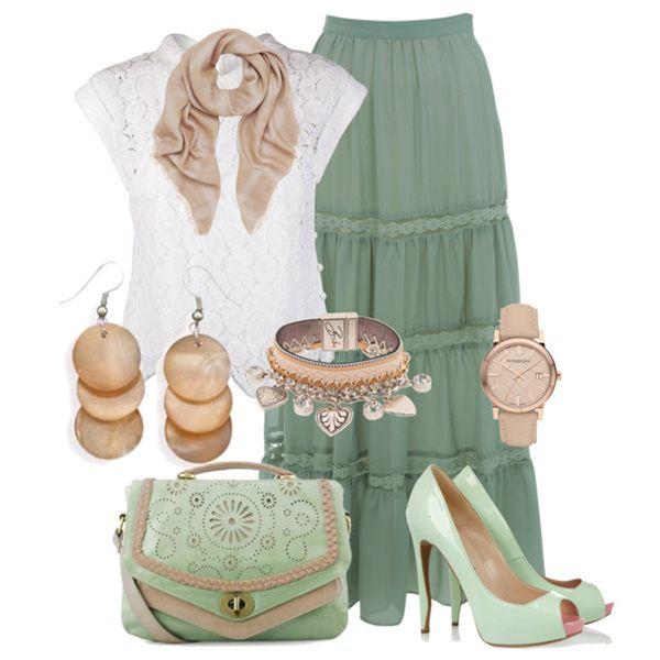 Туфли мятного цвета, серая длинная юбка, белая блузка, бежевые аксессуары, золотистые украшения