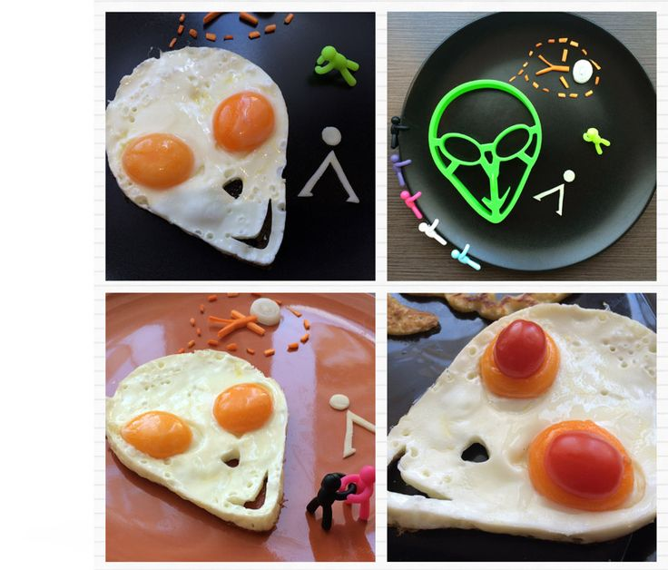 """Funnybreakfast.com proud to present one of their creations, the Area 51 Egg Shaper!  The preparation is very simple, two eggs should be poured into the mold's """"eyes"""". The egg-white flows apart, filling the mold, while the two yolks form the eyes.."""