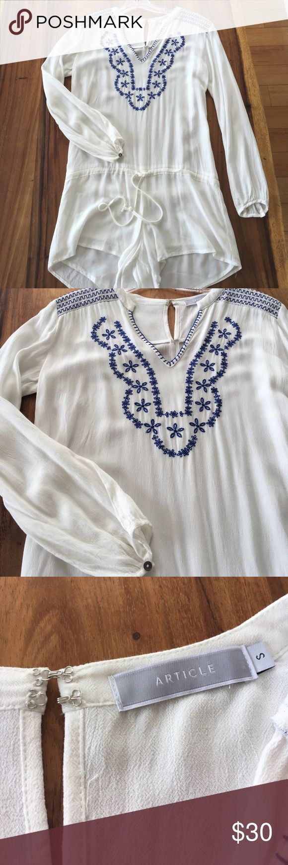 """Perfect Summer Vacay Romper 🌞🛥 Adorable romper, perfect for vacation or beach party, in lovely soft crepe cotton-linen material and w/ pretty blue embroidery on front. Hook and eye closure in back and drawstring short. The short part is lined so no see-thru issues. Never worn, zero flaws, and in perfect condition. I purchased this from a boutique in LA and never wore it, and now it's too small for me. Size S (can fit XS); fits size 2 best. Measures 28.5"""" from shoulder to bottom hem of…"""
