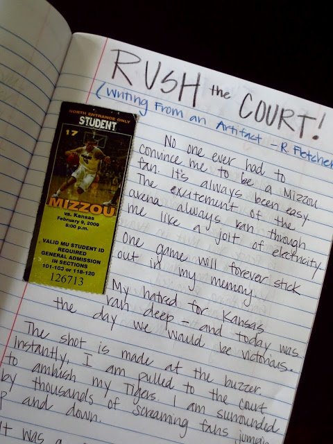 Love the idea of writing from an artifact - concert ticket, plane ticket, restaurant menu, a card...