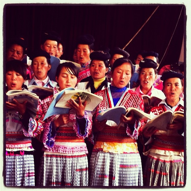 The Miao people singing in church. #ethnicgroup #minority #village #china #church #choir #singing #music #tradtionalclothing #women