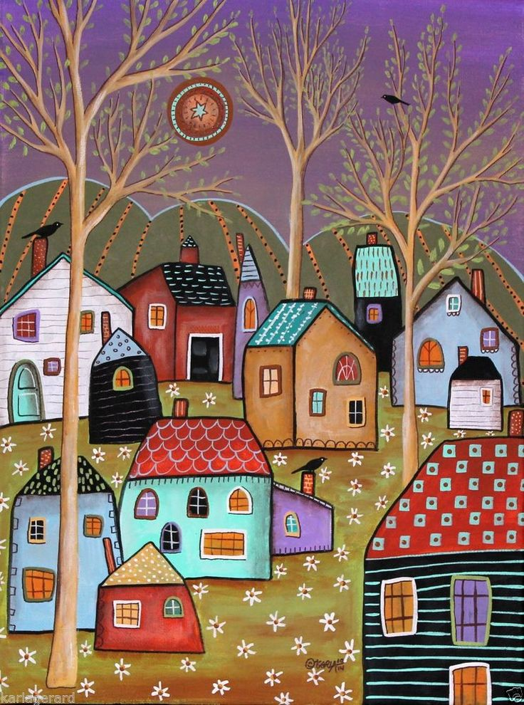 Balmy 12x16 inch Houses Trees Birds ORIGINAL CANVAS PAINTING Folk Art Karla G..new painting for sale, just finished and added to store.. #FolkArtAbstractPrimitive