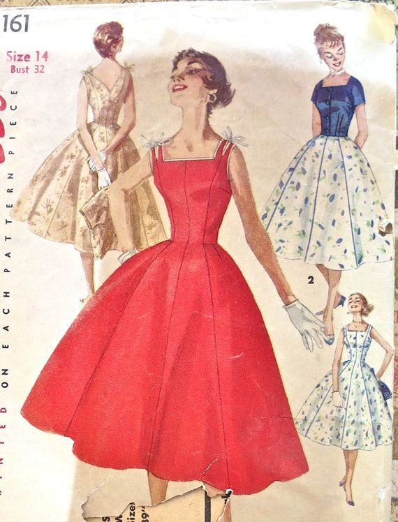 Simplicity 1161 -  1950s Womens Dress and Jacket Pattern   - Sleevless, Full Skirt Dress - Fitted Jacket