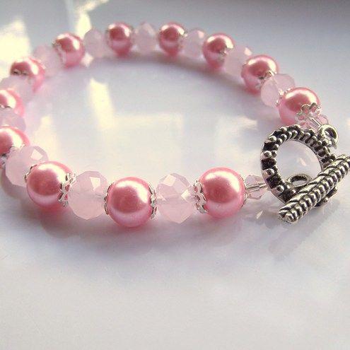 Pink Crystal & Pearls Bracelet