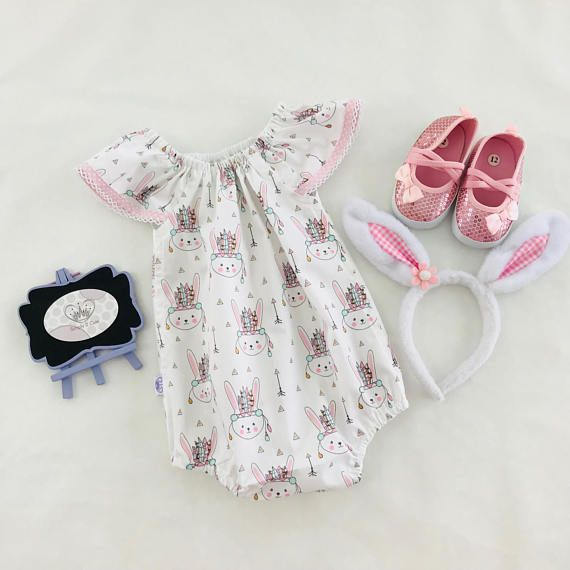 100% cotton bunny playsuit with flutter sleeves. This playsuit is wonderfully versatile! With its short sleeves and legs it is perfect for Summer and Spring, but you only need to add tights and a cardigan and you have an outfit for Autumn and Winter too! The elastic at the neck and