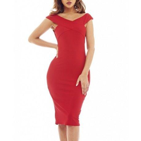 Kobieca czerwona ołówkowa sukienka midi z ciekawym dekoltem X