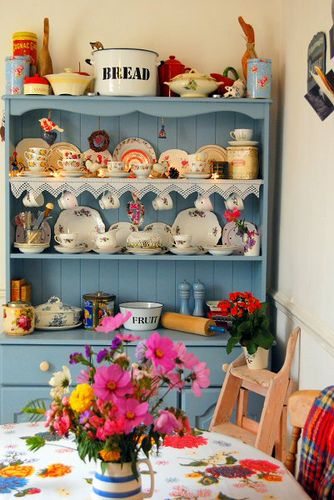 Kitchen Dresser by The Vintage Magpie, via Flickr - love the fabric lacy trim across the shelf, the enamel bread bin, the display of china