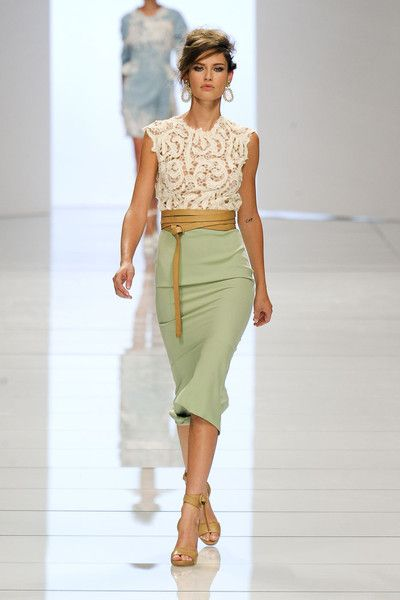 Cream lace sleeveless top, celery green pencil skirt, butter leather sandals and belt--Ermanno Scervino Spring 2012