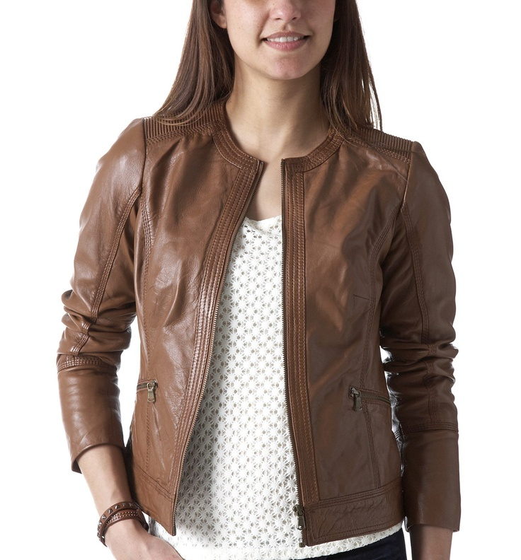 Female Brown Leather Jacket - Coat Nj