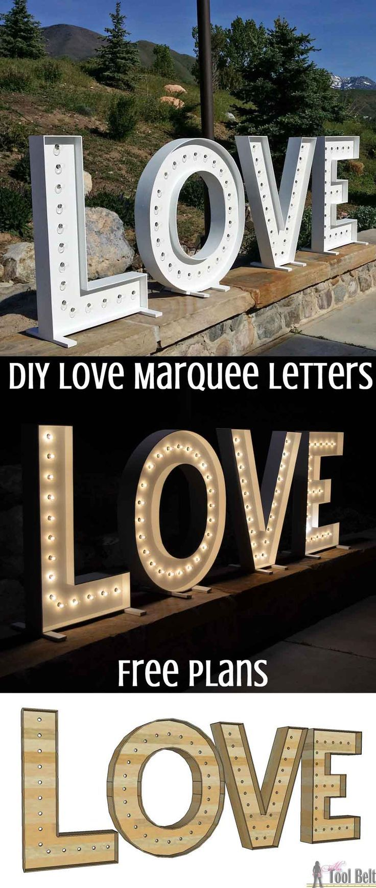 DIY Woodworking Ideas These are so cute for a wedding and make big statement! DIY LOVE marquee letters...