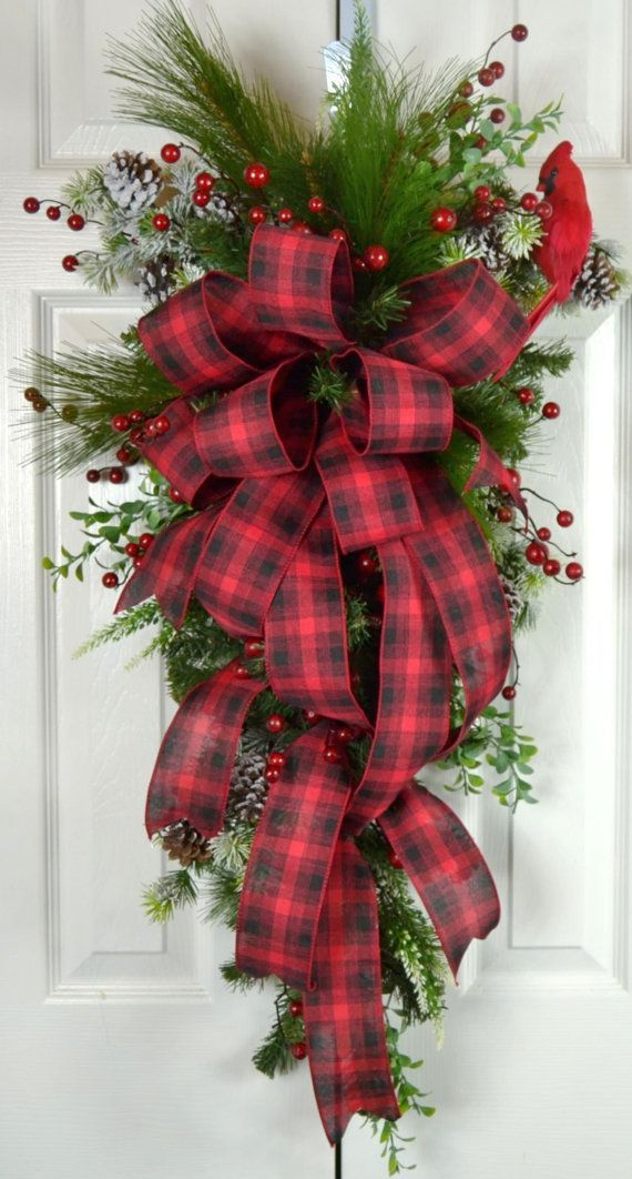 Old Fashioned Christmas Teardrop Swag - Red Plaid Traditional Christmas Wreath - Christmas Front Door Decorations