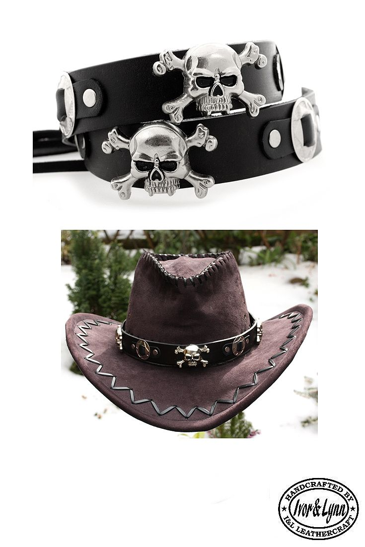 Handmade leather skull and concho hat band.  leatherhatbands ... 5f2c09f4bc7
