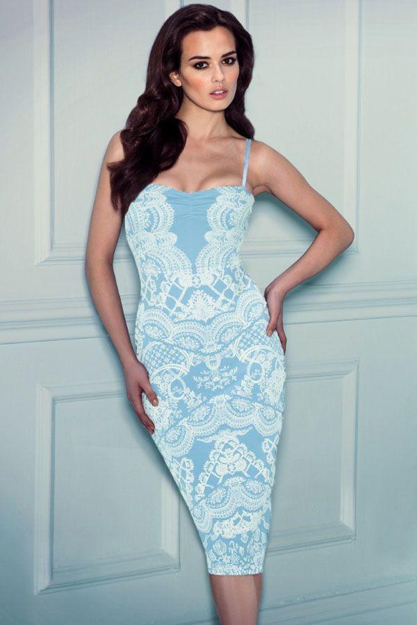 Baby Blue Lace Applique Midi Slip Dress