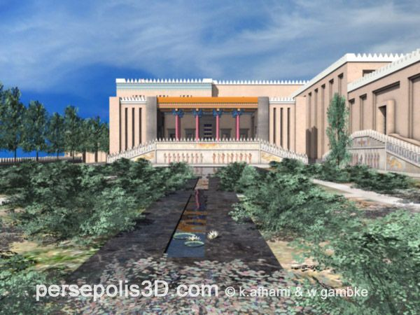 Achaemenids (Persepolis) - computer 3D reconstruction of Persepolis, Tachara, South Façade, View from the Paradaesa,