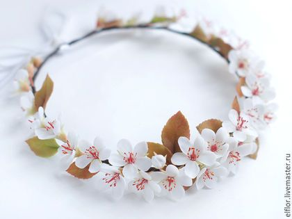 Свадебные украшения ручной работы. Ярмарка Мастеров - ручная работа. Купить Венок для невесты с цветами вишни (сакуры). Handmade.