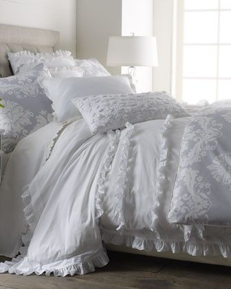SERENA & LILY White Ruffle Bed Linens King Damask Duvet Cover, 106 x 94 - traditional - duvet covers - - by Horchow