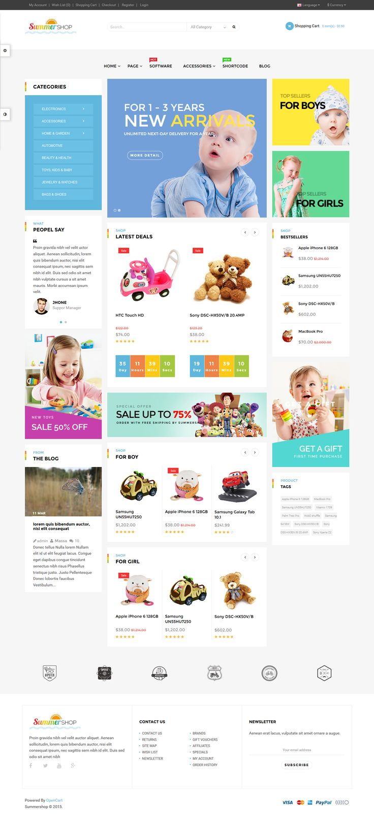 Pav SummerShop – Super flexible #Opencart 2.0 theme for Fashion, Gift, Furniture, Digital store and #Kid store. #eCommerce #Website