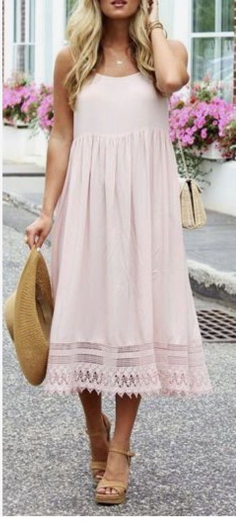 ~~~Beautiful blush pink slip dress with lace detail. Love this! Spring summer 2017 fashion trends. Stitch fix spring #affiliatelink