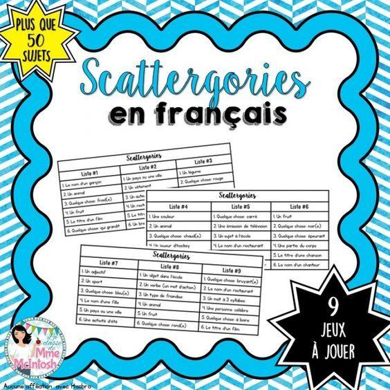 Cherchez-vous une activité amusante à jouer avec votre classe pendant qu'ils pratiquent leur français à l'oral et le vocabulaire? Ce jeu est ce qu'il faut!   Les catégories varient, incluant «le titre d'un livre» et «le nom d'un ville ou pays.» Vous pouvez adapter ce