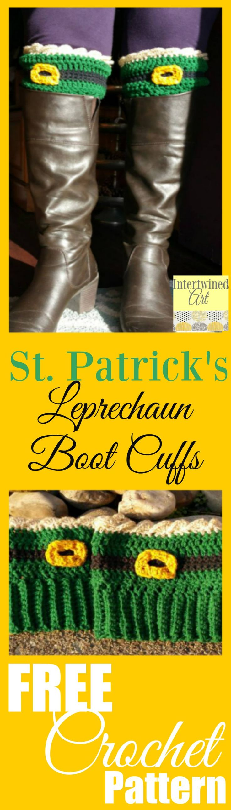 St. Patrick's Day Leprechaun Crochet Boot Cuffs Free Pattern. Button closure, so they are adjustable for most sizes!