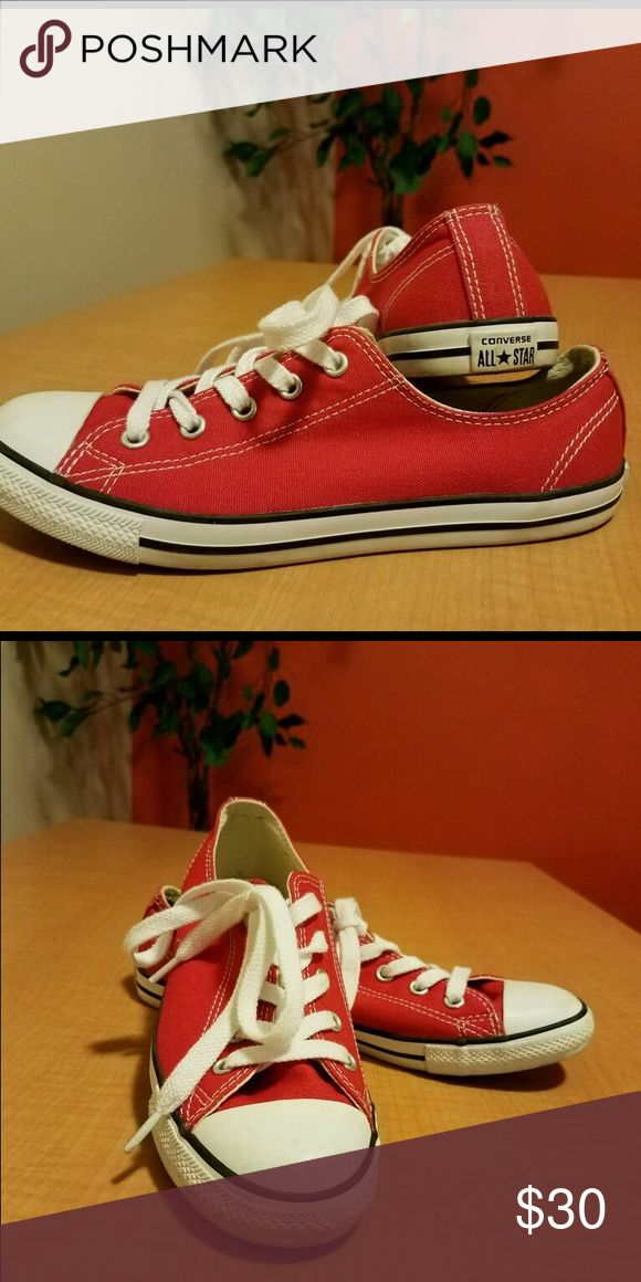 Dainty Red Converse Shoes Red Converse shoes, lightly worn Converse Shoes Sneakers