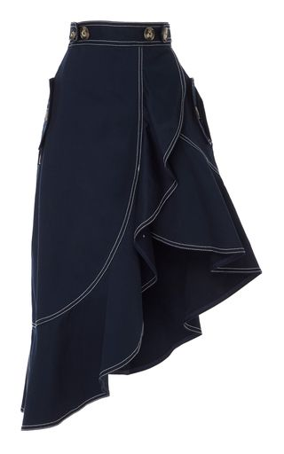 Self Portrait's skirt is cut to nip in the slimmest part of your frame. Cut from navy cotton canvas, it's accented with white seams and falls to a ruffled, asymmetric hem. Tuck in a blouse and pair yours with block heel sandals.