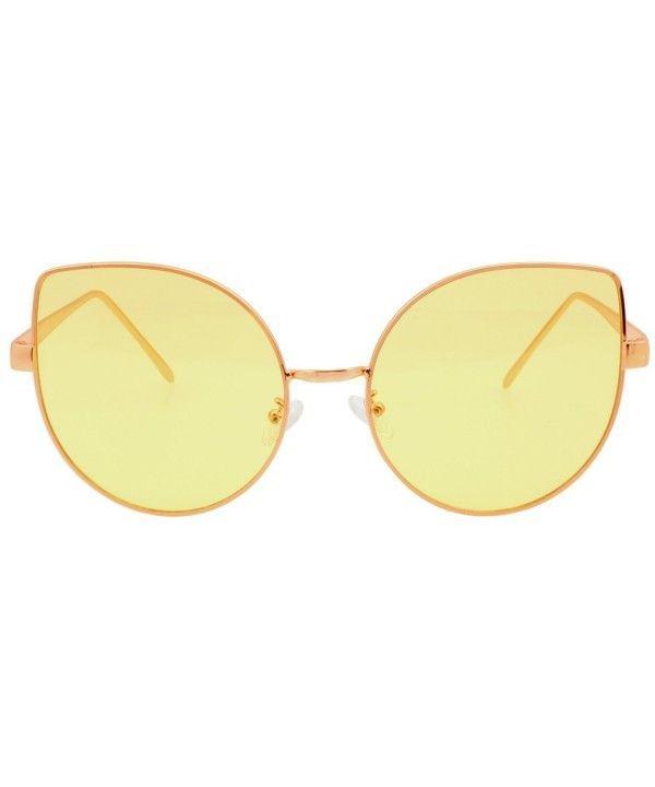 Farbe getönte flache Linse Cat Eye Sonnenbrille Frauen übergroßen Shades 8693…