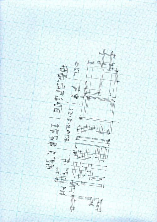 #scribbleAKL no.79 flyer. Abstracted x,y grid based lettering. Pigment liner on grid paper, by @creativeBhav. 9-05-2013