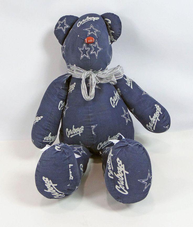 23 Inch Hand Made Cowboys Teddy Bear Bows Stuffed Animal Football Nose  #HandMade #AllOccasion