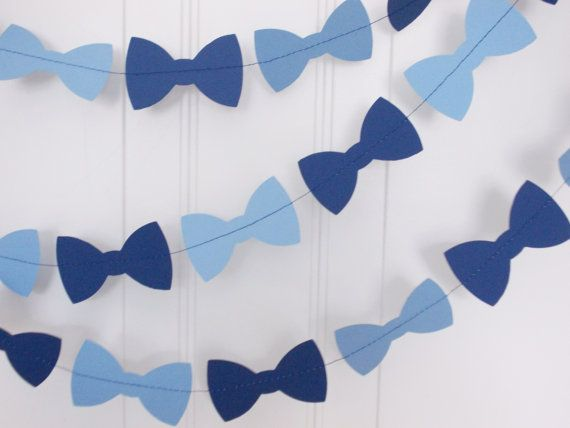 Bow Tie Garland, Navy & Light Blue Garland, Boy Birthday Party, Party Decoration, Baby Shower, Bowtie Decoration, Little Man Garland,  10'