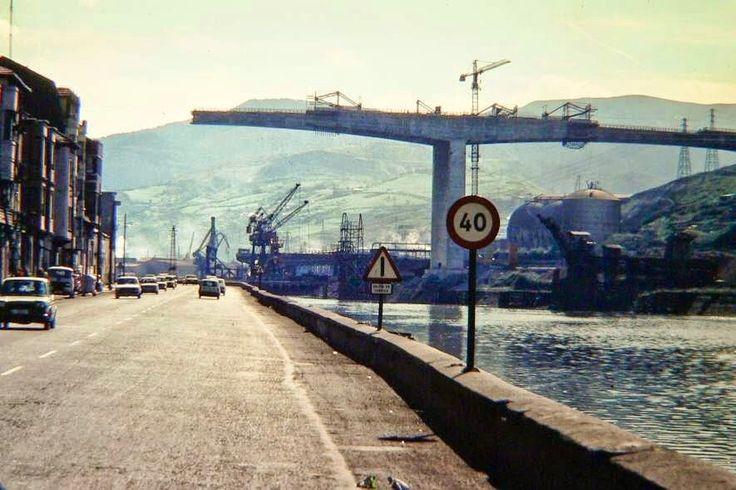 Bilbao, bridge of Rontegui in construction, ca. 1979.