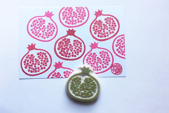 pomegranate stamp. fruit hand carved rubber stamp. summer garden stamp. birthday holiday scrapbooking gift wrapping. spring holiday crafts