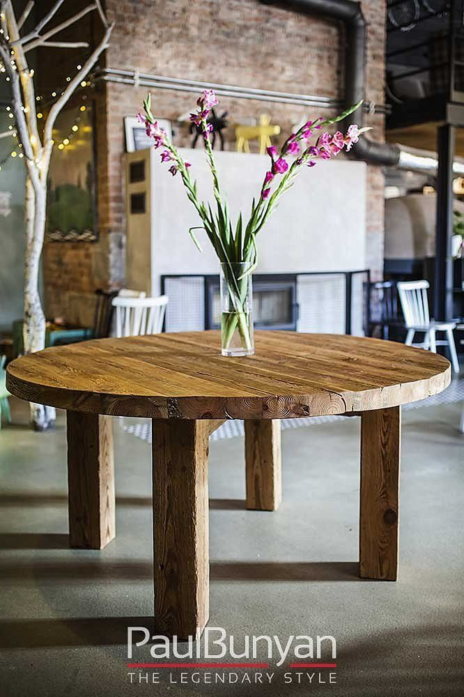 Roud wooden table made from old wood INDIANA
