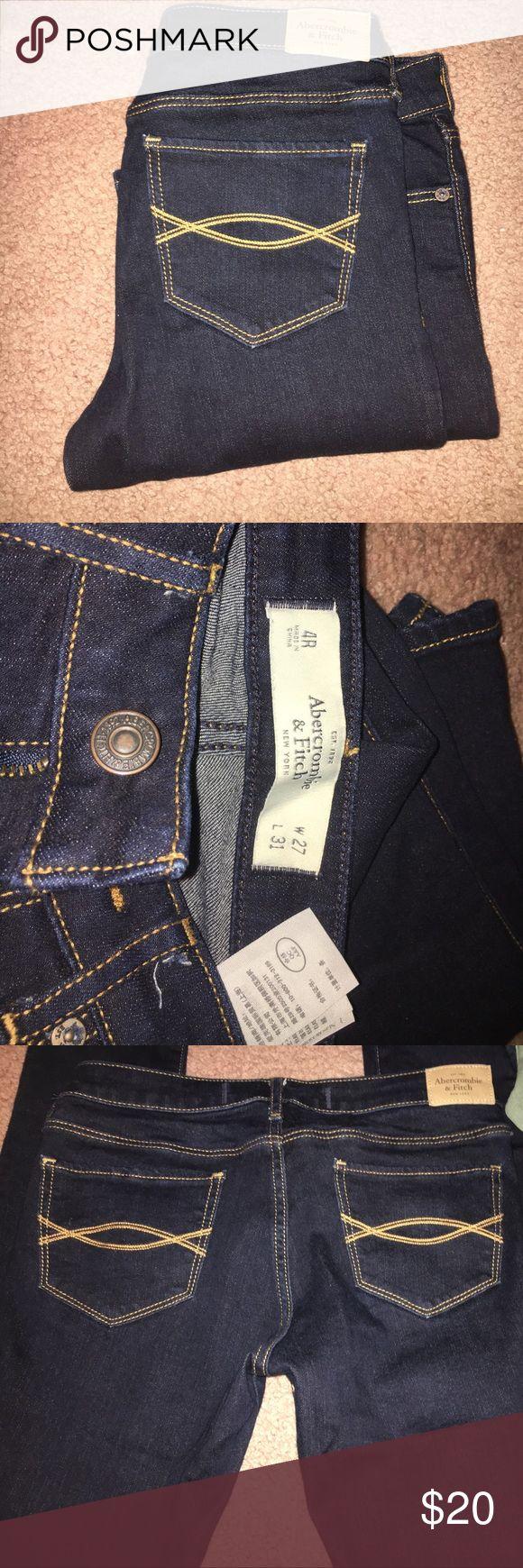 Abercrombie jeans Brand-new never worn Abercrombie jeans! Dark wash! Size 4R Abercrombie & Fitch Jeans Skinny