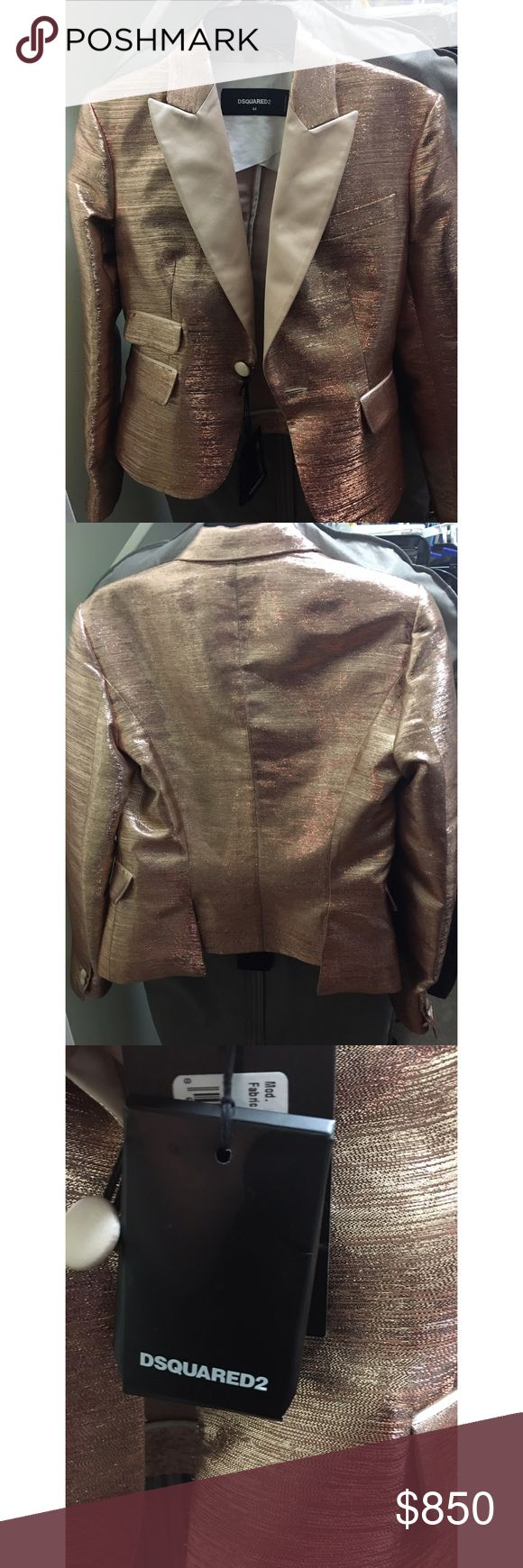 Dsquared2 Women's Suiting Blazer Beautiful blazer with rose gold metallic material. DSQUARED Jackets & Coats Blazers