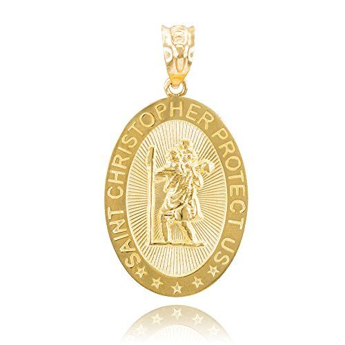 14k Yellow Gold St Christopher Medal Patron Saint of Travelers Catholic Protection Pendant. oval-shaped St. Christopher prayer necklace pendant or bracelet charm. finely crafted with classic 14 karat yellow gold in stunning polished finish. comes with free special gift packaging. made in the USA yet offered at factory direct jewelry price. ships within 24 hours from the manufacturer directly to the customers.