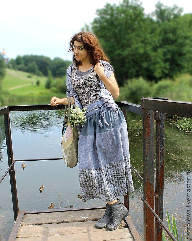 Купить Юбка из хлопка. Полоска - в полоску, полосатая юбка, юбка из хлопка, летняя юбка