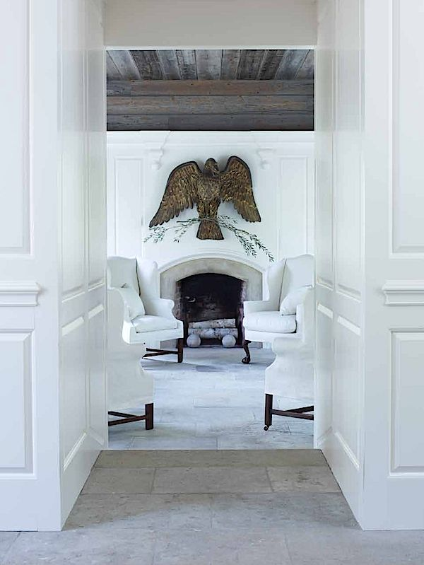 Bold eagle. Mantle. Living room.