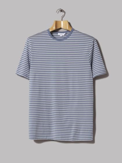 ee41803a Sunspel Short Sleeve English Striped Crew Neck T-Shirt (Airforce Blue / Ice)