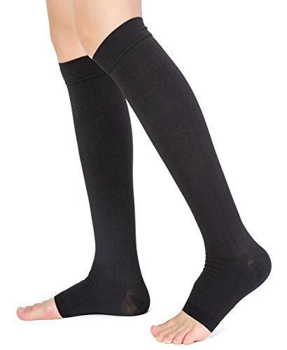 Knee High Compression Stockings, TOFLY Firm Support 20-30mmHg Opaque Maternity Pregnancy Compression Socks, Open-Toe, Ankle & Arch Support, Swelling, Varicose Veins, Edema, Spider Veins. 1 Pair BlackM  ★★★ IT JUST WORKS! These maternity compression stockings are made of premium quality, High quality 1280D Grade Material, breathable & durable compression fabric made of 77% Nylon, and 23% Spandex, microfiber. True graduated compression of 20 - 30 mmHg. Anti- fatigue, Sweat-Absorbent, Ant...