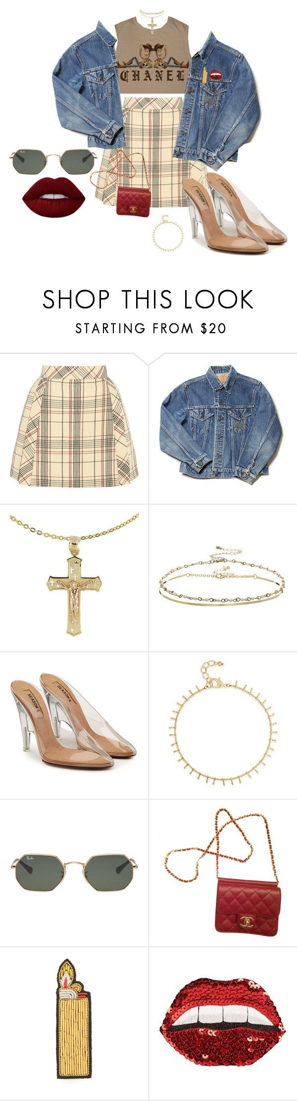 """""""Plaid & Bad"""" by childishglambino ❤ liked on Polyvore featuring Chanel, Delpozo, ASOS, Yeezy by Kanye West, INC International Concepts, Ray-Ban, Macon & Lesquoy, Happy Embellishments and Lime Crime"""