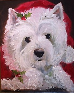 Sparrow Westie West Highland Terrier Dog Santa Christmas Holiday Art Painting   eBay buy it now for Christmas Gift for the Dog Lover!