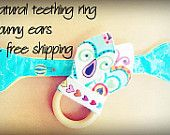 SALE Free Shipping - Teething Ring with Two Bunny Ears - Your Choice of Fabrics