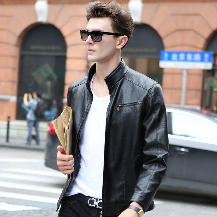 2016 Spring Men's Popular Handsome Leather Jacket Punk New Black Leather Jackets Zipper Men Chupas De Cuero Hombre Large Size