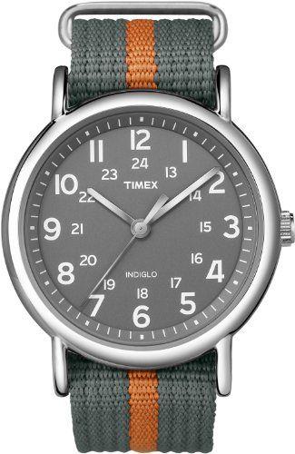 Timex T2N649KW Weekender Gray and Orange Slip Through Strap Watch